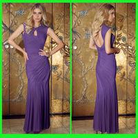 DDS52 Fabulous cap sleeve bodice backless ruffle purple evening dress