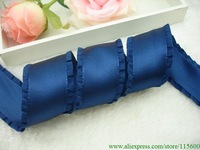 1-1/2'' wide 10yards double ruffle satin ribbon ,DIY hair accessories bow,Free Shipping