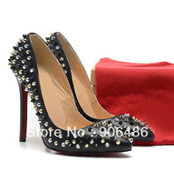 Free shipping red bottoms 120mm  women's pumps Pigalle Spikes nappa leather pumps red sole heels 2013