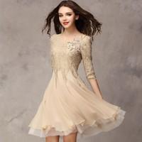 3090201 - 2013 Autumn Fashion Slim Lace Chiffon Dress Elegant Dress Women 3 Quarter Sleeve Chiffon Dress Free Shipping