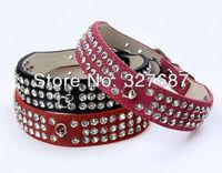 Free Shipping Wholesale 30pcs/lot  Dog Pet Collar Leash Bling Rhinestone Charm Velvet Leather Crystal Pet Collar