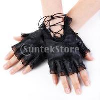 Free Shipping Ladies Lace Trim Sheepskin Leather Fingerless Half Gloves Size M - Black
