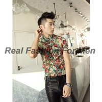 Men's Floral Flower Colourful Print Retro Chiffon Short Sleeve Shirts Tops