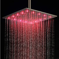 2014 rushed hot sale square single head white led shower heads free shipping 16 inch with color changing led light