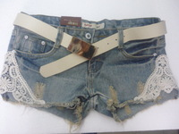2013 plus size slim lace patchwork denim shorts women's single-shorts legging