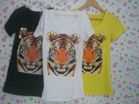 2013 hot-selling elegant diamond tiger head o-neck short-sleeve T-shirt female lovers design short-sleeve T-shirt