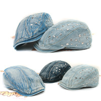 Fashionable denim cap ysm600 casual rivet 100% cotton cap