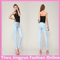 Hot Sale Women's pencil pants Ladies women denim jeans trousers full size26-31 light blue Free Shipping L0264