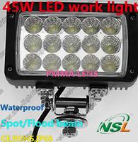 2pcs/lot 6'' Square 45W Spot/Flood 4000LM LED work light 12V24V Auto 4X4,4WD,TANK,MARINE,BUS FOG Offroad work lamp CE,IP68,ROHS