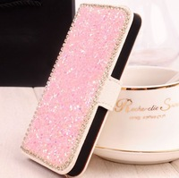 Luxury Diamond Rhinestone Bling Flip Wallet Card Holder Flip Leather Case Cover For Samsung Galaxy S4 i9500