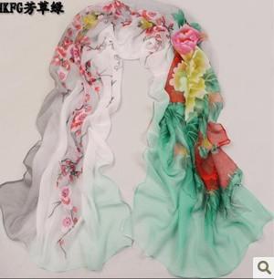 Age season long silk georgette silk scarf joker han edition fabric small shawl