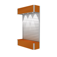 Free shipping-shop display TE-19F-DS04 Aluminum Portable Slatwall with fabric panel, lighting and storage