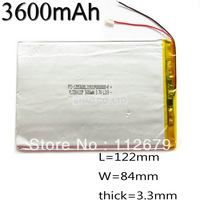 Size 3384122 3.7V 3600mah Lithium polymer Battery with Protection Board For PDA Tablet PCs Digital Products Free Shipping