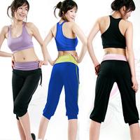 whole sale summer dance wear clothes set sports vest bra yoga clothing fanshion sleeveless half-length pants yoga wear 166