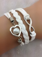 3pcs Bridesmaid gifts,Sisters gifts,White Pure bracelet,infinity bracelet, heart shaped with Imitation  1861 Min order 10$