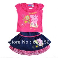 2013 Australia Summer Hot Childrens Clothing Toddler Girl Dresses Peppa Pig Dress Set for Girls George Pig Suit T-shirt & Dress
