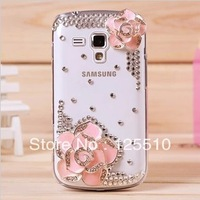 3D Camellia Japonica Flower Bling Diamond Crystal Case Back Cover for Samsung Galaxy S Duos S7562