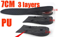 Free shipping 3 layers 7cm PU air cushion gel insoles full length unisex foot care arch support taller 100 Pairs/Lot