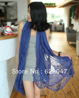 Hot Sell Spring And Summer Season Solid Color Lace Decoration Faux Silk Scarf Cape Female Long Design Shalw Free Shipping
