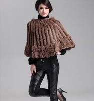 Lady Fashion sexy Wraps /shawl  Genuine rex  Knitted Rabbit Fur Poncho with beautiful flower  dropshipping
