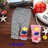Female child legging knee length legging trousers classic horizontal stripe skinny pants children legging pants