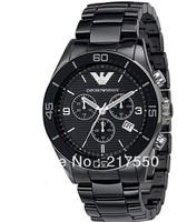 2013 Famous brand+Free Shipping! mens watch Ceramic Black Chronograph Dial Quartz Grents Wristwatch AR1400