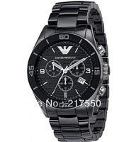 2013 Famous brand+Free Shipping! mens watch Ceramic Black Chronograph Dial Quartz Grents Wristwatch AR1400