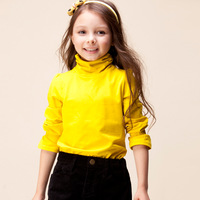 2013 autumn children's clothing girls clothing child 100% cotton long-sleeve turtleneck T-shirt all-match basic shirt