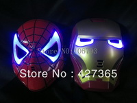 LED Glowing Light Iron Man Spider Man Masks Hero Face Guard PVC Masquerade Party Halloween Birthday