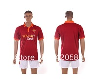 New arrivals 13/14 Roma home wine red soccer football jersey + shorts kits, best quality football uniform .free ship