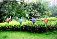 Free Shipping 4pcs/lot Outdoor Yard Garden Path Way Solar Power LED Tulip Landscape Flower Lamp Lights