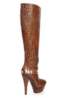 JILULI High-end custom Fashion fashion crocodile skin wild ultra high heels platform boots high-leg boots brown wholesale shoes