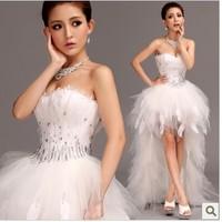 vestido de noiva 2014 T11    fashionable vintage beads crystal   feather plus size women short front long back    wedding dress