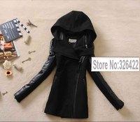 Winter Woollen Coat Women Outerwear Pu Leather Patchwork Thick Long Wool Black Coat Long Parka Casacos Femininos 2014 Casaco
