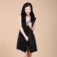 2013 mink knitted vest with a hood knitted long design knitted hat women's
