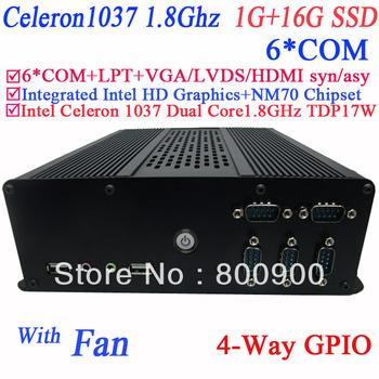 mini computer linux with fan Intel Celeron 1037 Dual core1.8GHz TDP 17W NM70 Chipset  LPT 6*RS232 COM port 1G RAM 16G SSD DC12V