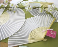 60pcs /lot Plain solid color Silk Bamboo Fan Folding Hand fan Wedding Favor party gift H110w