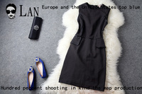 2013 summer new women's high-end European and American big fight PU Slim thin simple sleeveless dress T696