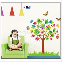 2013 New Design--Color Tree And Loving butterfly Around Wall Art Stickers Vinyl Decals Mural Home Decor DIY easily removable