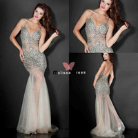 Free Shipping 2014 Custom Made See Through Sheer Fabric Nude Sweetheart Prom Dresses 2013 New Arrival Mermaid
