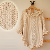 Drop Shipping 2013 New Spring And Autumn Fashion Crew Neck Sweater Vivi Women's Loose Cloak Cape Sweater