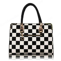 Free Shipping New Fashion Women Handbag Personality Woven Plaid Color Block Shoulder Bag