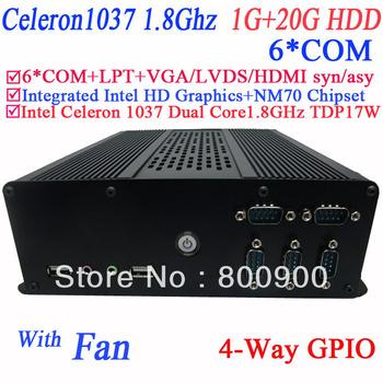 Free shipping windows linux pc mini with LPT 6* COM intel HD graphic Intel Celeron 1037 Dual core1.8GHz 17W NM70 1G RAM 20G HDD