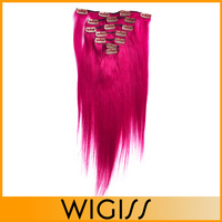 7pcs/set WIGISS Remy  clip in hair Human hair products straight brazilian virgin Violet hair extensions H7009AZ Bshow