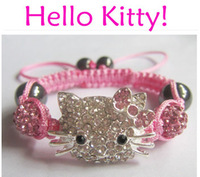 Wholesale 10Pcs/Lot Pink Hello Kitty Shamballa Bracelets Bangles Handmade Crystal Beads Children Baby Kids Bracelets Charm