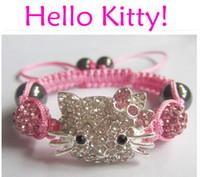 Wholesale 10Pcs/Lot Pink Hello Kitty Shamballa Bracelets Bangles Handmade Crystal Beads Children Baby Kids Bracelets Charm