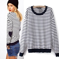 CL869 European Style Brand Famous Love Stripes Elbow Patch Coat Knitted Sweater Spring Fall Winter Women Lady Free Shipping