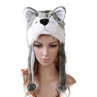new styles Cartoon Animal Hat short wolf  with small wolf  Cute Fluffy Plush Winter Warm Hat Cap, Free Shipping 2013