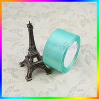"Free shipping 250 yards 2"" (50mm) single face Aqua Blue Satin Ribbon webbing decoration crafts materials 25 yards/roll"
