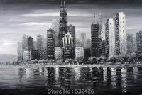 Chicago Downtown Black & White Cityscape Handpainted Oil Painting on Canvas Wall Art Home Decoration Free Shipping